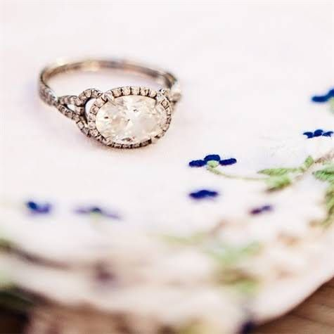 Oval shaped vintage engagement ring