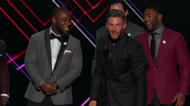 """While accepting the award for best game, Patriots wide receiver Julian Edelman credits Peyton Manning for how well he's doing as host of the ESPYS, but follows it up by saying """"we are indoors though."""""""