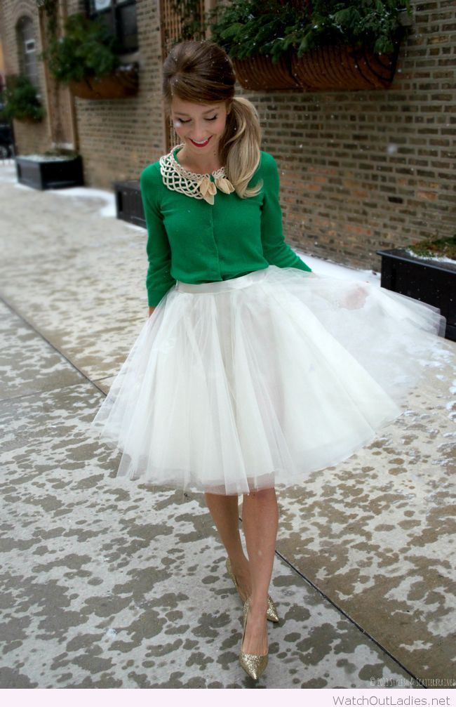 White tutu skirt and a green shirt