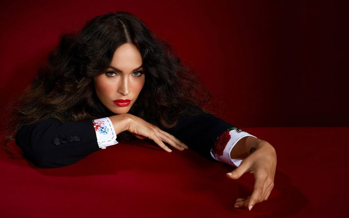 Download wallpapers Megan Fox, American model, portrait, American actress, red dress, photosession, Prestige Magazine