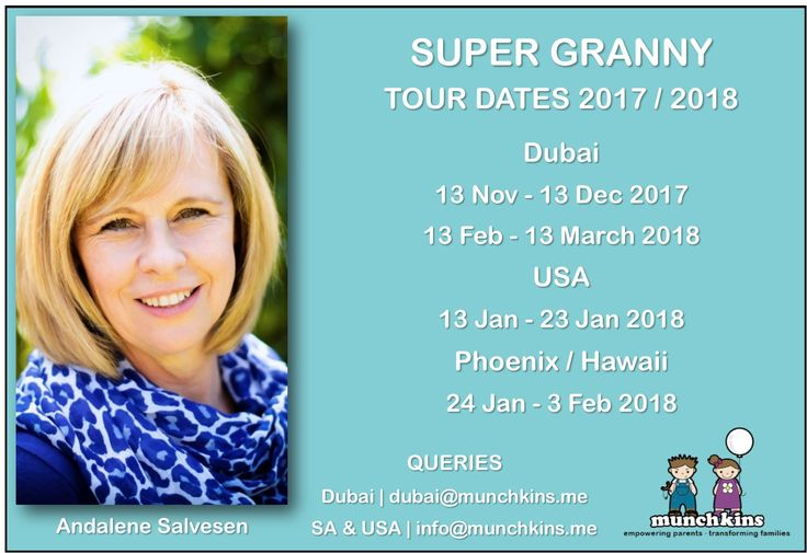 Andalene (in South Africa right now) will be touring her heart out in the coming months. Save these dates! For queries, contact info@munchkins.me (SA & USA) or dubai@munchkins.me (UAE)