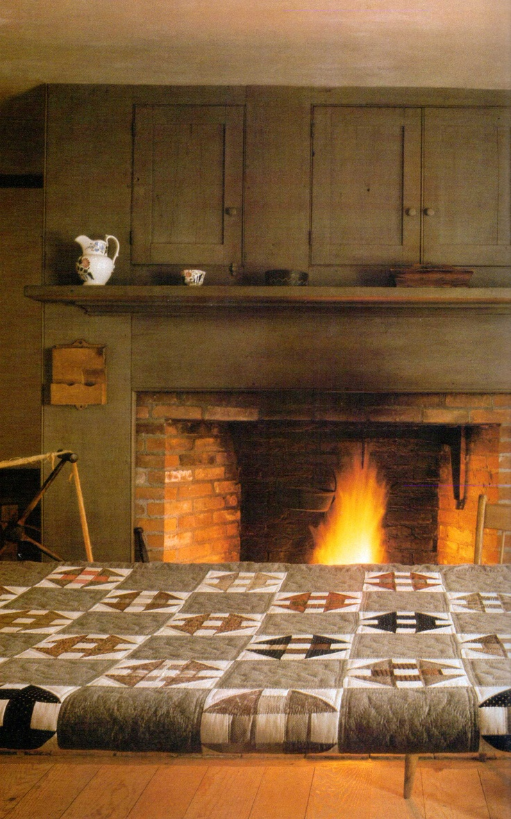 Quilting in front of the fire.