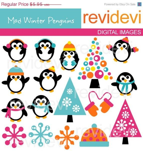 70 OFF SALE Clipart Mod Winter Penguins 07221  Digital by revidevi