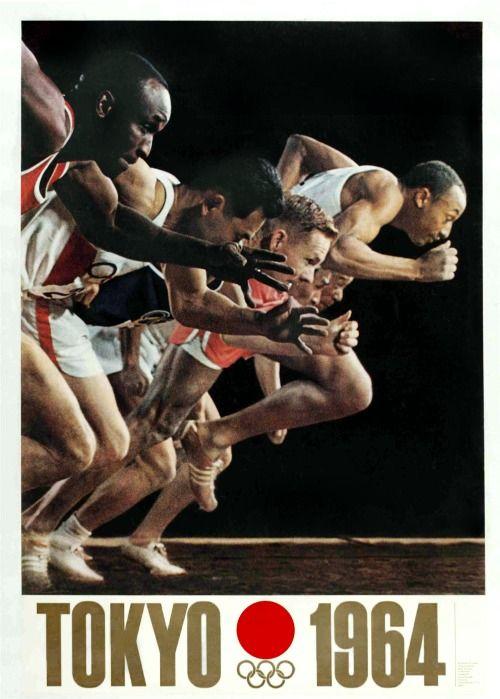 Japanese Poster: Tokyo Olympics. Yusaku Kamekura. 1964.
