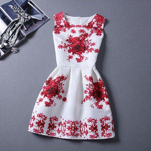 Khazanakart New Elegant European and American Women's Western Wear Red and White Dress Material.