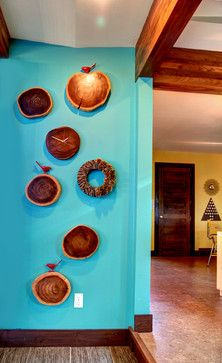 Woodsy Holiday - contemporary - dining room - Clock as part of a wall arrangement of like-materials