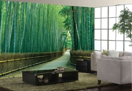 """by Finest Mural A very popular design, that opens up your room into a tranquil bamboo forest trail. This photograph was taken in the stunning Sagano National Park, Kyoto, Japan. This mural is made of 18"""" wide wallpaper strips. Prepasted, washable, dry strippable and reusable wallpaper mural. Hangs like wallpaper. Our murals are made in Canada and take 5-6 days to ship."""