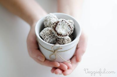 """Chocolate-covered coconut """"Bounty"""" balls.These are so easy and yummy! (Also vegan, if you're into that!)"""