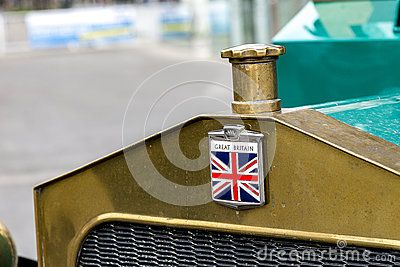 Part of old British lorry with Great Britain`s flag, the Union Jack - symbol of traditional old British industry