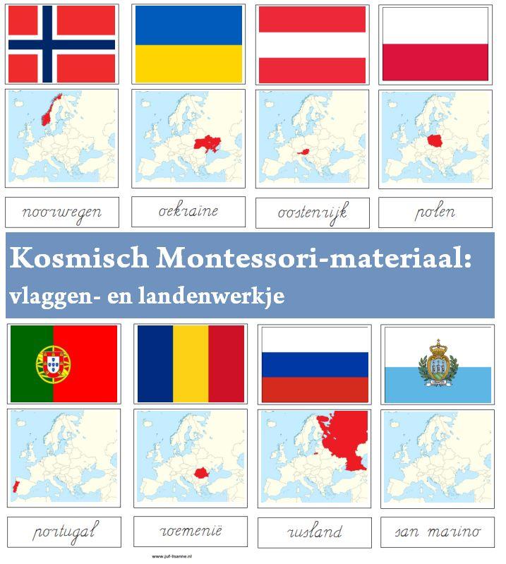 Montessori-materiaal: vlaggen- en landenwerkje Europa