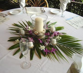 Palm leaf centerpiece; maybe with floating candle/flower column in center