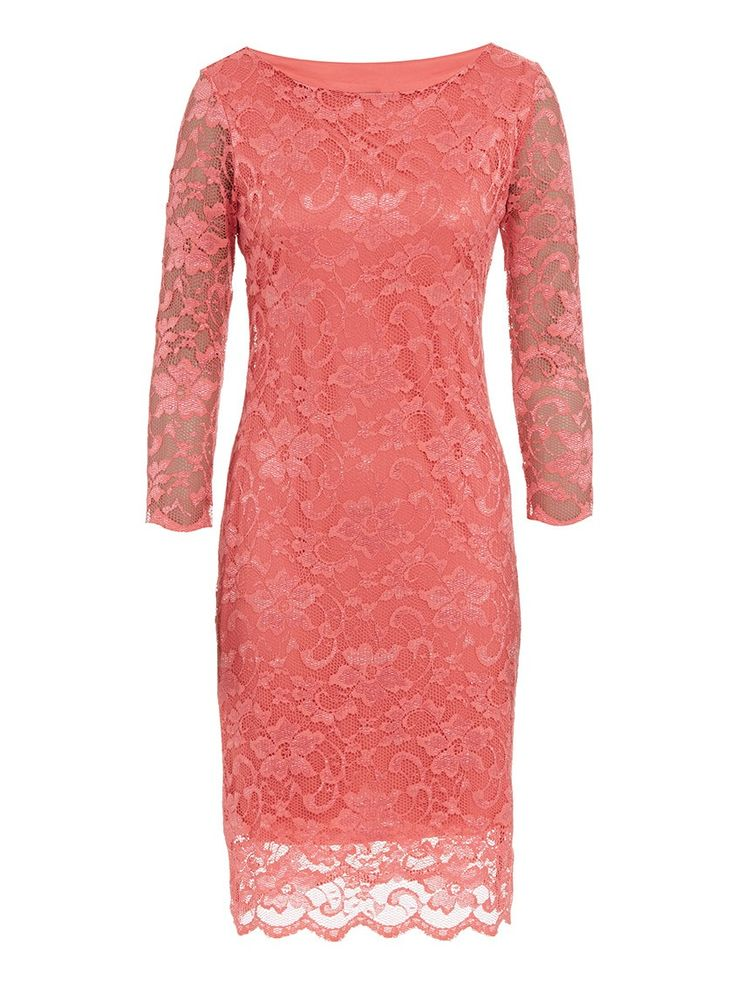 Scalloped lace dress Coral