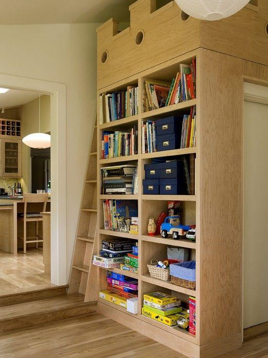HIdden loft bed with built in book shelves and additional closet, creative hidden guest space