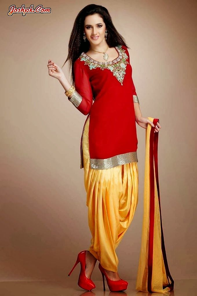Latest Punjabi Patiala Salwar With Short Kurta Collection 2014 For Girls