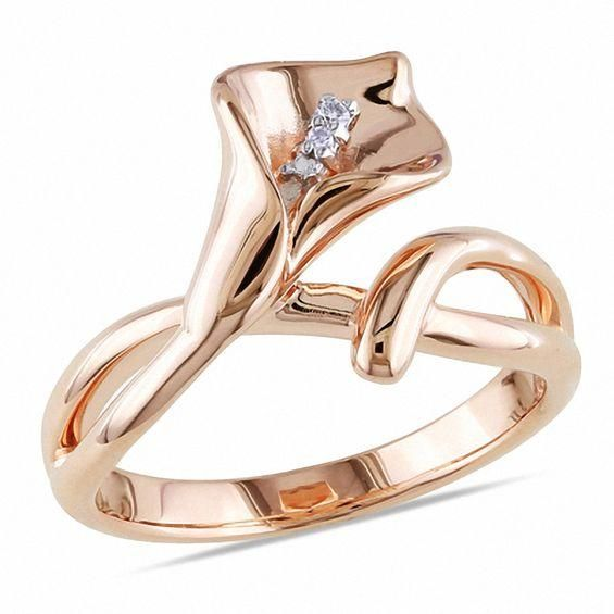 #Valentines #AdoreWe #Zales - #Zales Diamond Accent Calla Lily Ring in Sterling Silver with Rose Rhodium - AdoreWe.com
