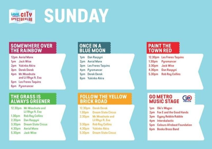 Sunday's timetable for Laya Healthcare's City Spectacular on Merrion Square Dublin as part of #layacityspec For full details see www.cityspectacular.com
