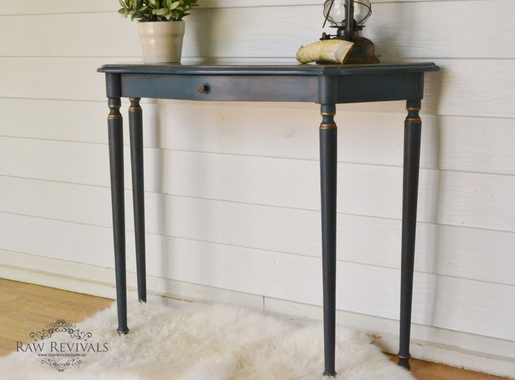 navy blue chalk paint dry brushed and then gold accents added furniture redo furniture diy www. Black Bedroom Furniture Sets. Home Design Ideas