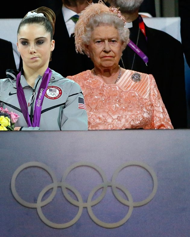 """McKayla Maroney and Queen Elizabeth II are equally not impressed with the Opening Ceremony.  HAHAHA!!! Love these """"McKayla Maroney is not impressed"""" memes :D"""