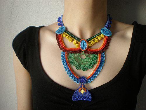 Geometry - Basics ... Freeform Crochet Necklace - Red Turquoise Blue Yellow Orange Green - Beaded Statement Necklace