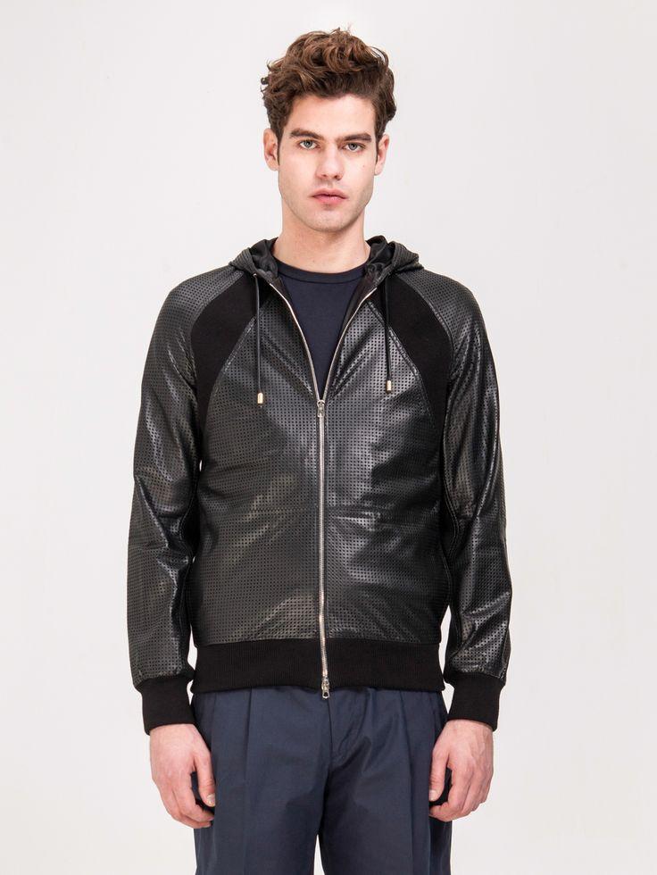 UMIT BENAN , Kapüşonlu Deri Ceket #shopigo#shopigono17#menswear#ss15#readytowear