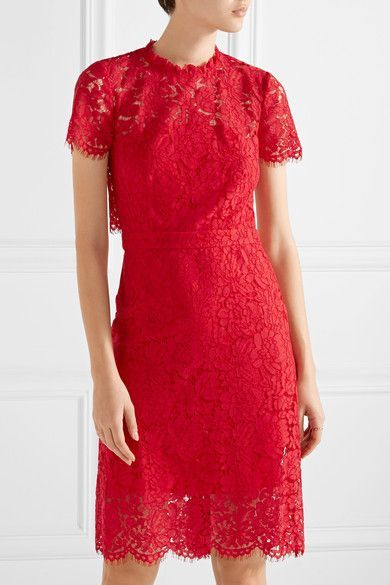 Diane von Furstenberg - Alma Cutout Corded Lace Dress - Red - US8