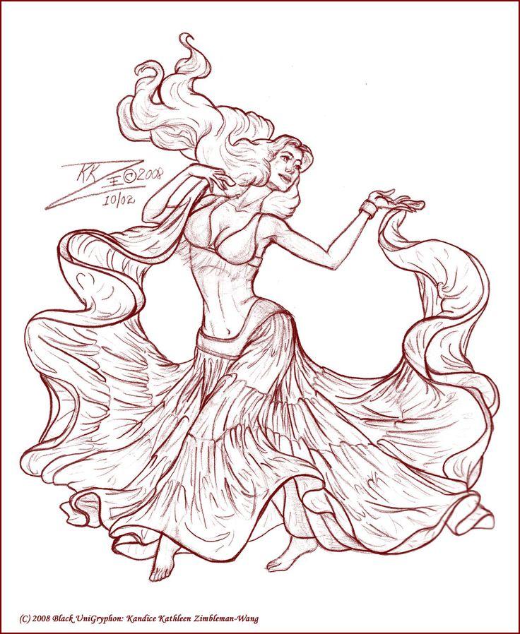 My original sketch Gypsy Skirt Belly Dancer Sketc by BlackUniGryphon.deviantart.com on @deviantART  art