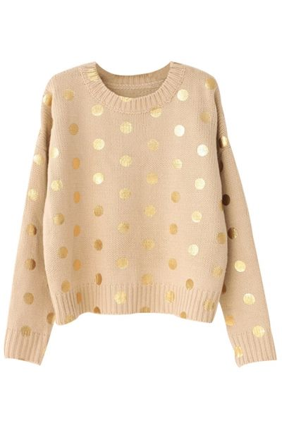 Khaki Sequined Polka Dot Knit Sweater