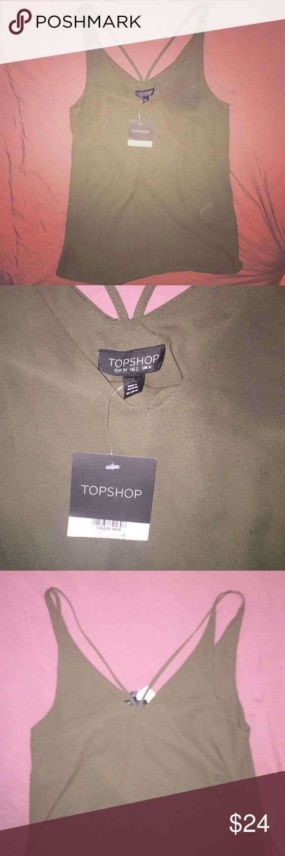 Topshop olive green strappy v-neck tank top 2 6 34 Brand new with tags. US 2. UK 6. EUR 34. Topshop Tops Tank Tops