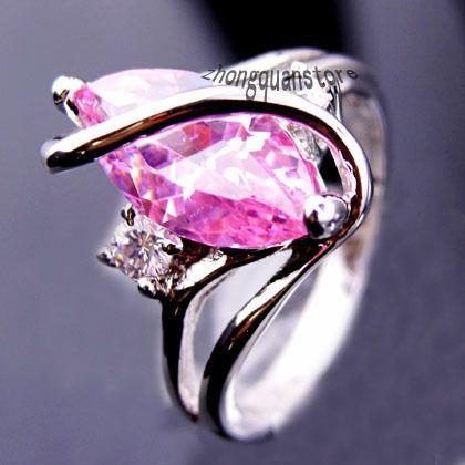 Размер 7 / 8 / 9 женщины мода ювелирные изделия кольца 10KT белый кольцо лучшие продажи корейские обручальные кольца