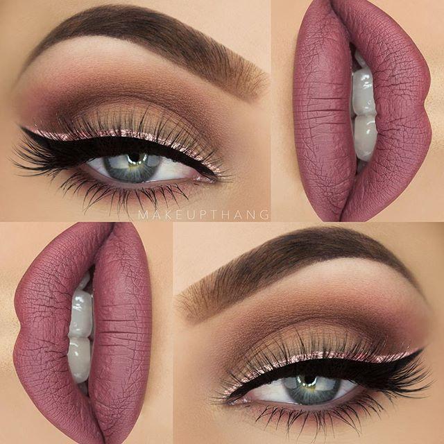 "Today's mauve look with a metallic liner ✨ --- BROWS: @anastasiabeverlyhills Dipbrow Pomade ""Chocolate"" #anastasiabeverlyhills #anastasiabrows ✖️ --- EYES: @morphebrushes ""35N"" palette #morphegirl ✖️ @limecrimemakeup Metallic Velvetine ""Blondie"" as liner ✖️ @sigmabeauty Legend Line Ace ✖️ @eyerisbeauty ""Sriracha"" lashes ✖️ --- @limecrimemakeup Velvetine liquid lipstick ""Teddy Bear"" ✖️ #makeupthang #hudabeauty #wakeupandmakeup"