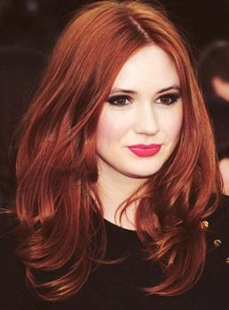 Attractive Karen Gillan Custom Hairstyle Long Layered Loose Wavy Red 100% Human Hair Full Lace Wig 18 Inches