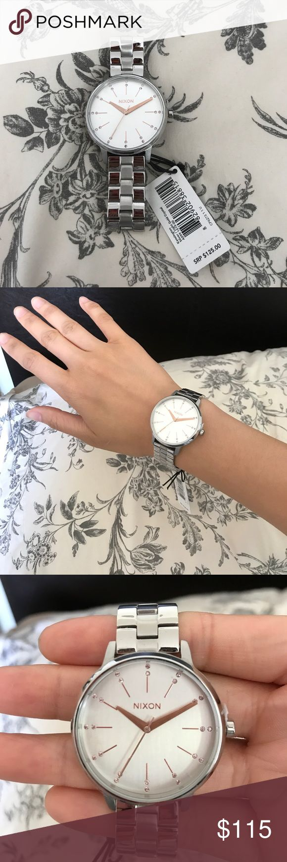 Nixon women's watch Brand new with tags Nixon watch. Silver with rose gold detailing on the face of the watch. Classic with a touch of girlish charm! Nixon Jewelry