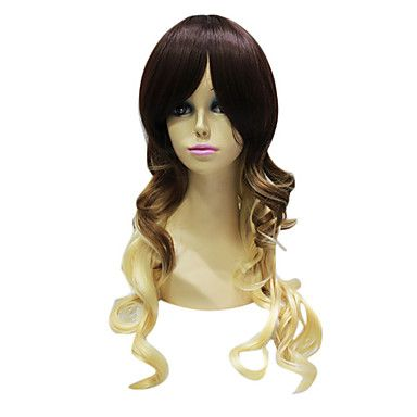 Capless High Quality Synthetic Janpanese Kanekalon Long Chestnut Brown And Sandy Blonde Sexy Long Wig For Women
