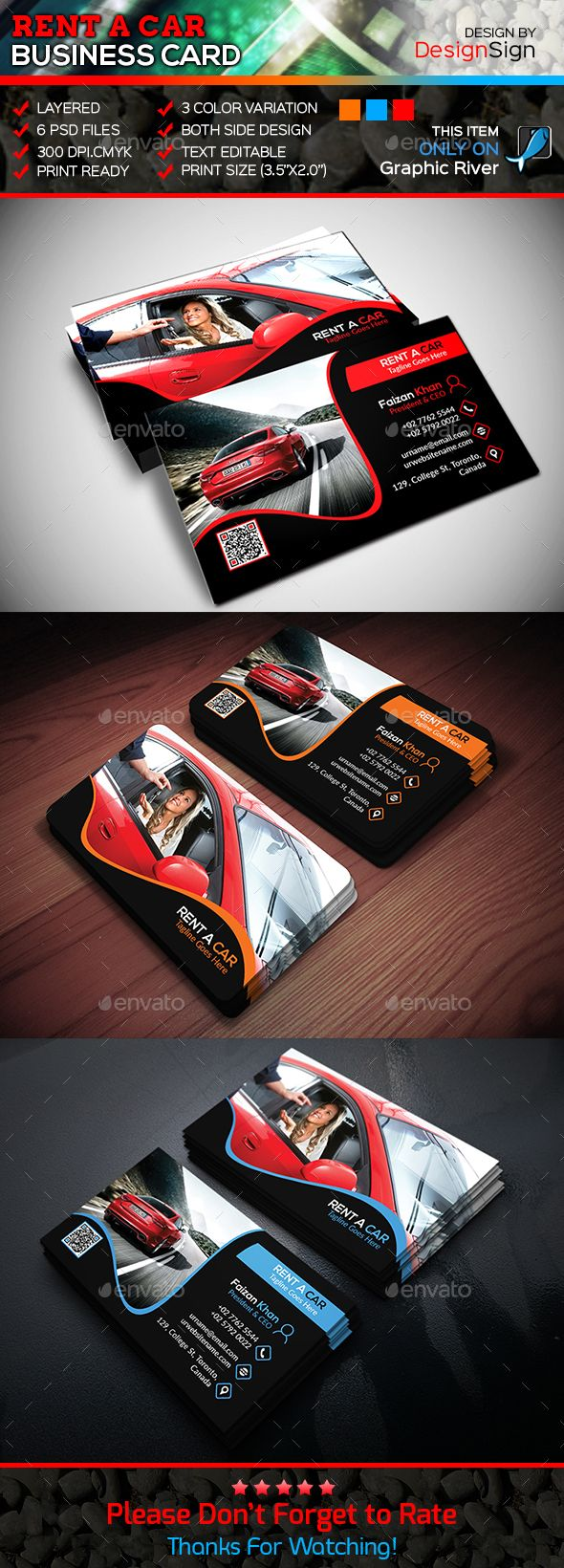 Rent A Car Business Card Template PSD #design Download: http://graphicriver.net/item/rent-a-car-business-card/13920233?ref=ksioks