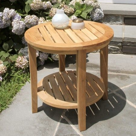 Complement An Outdoor Setting Placing A Teak  In Diameter Side Table Alongside Lounge Chairs Rocking Chairs Or Benches To Keep Drinks Books