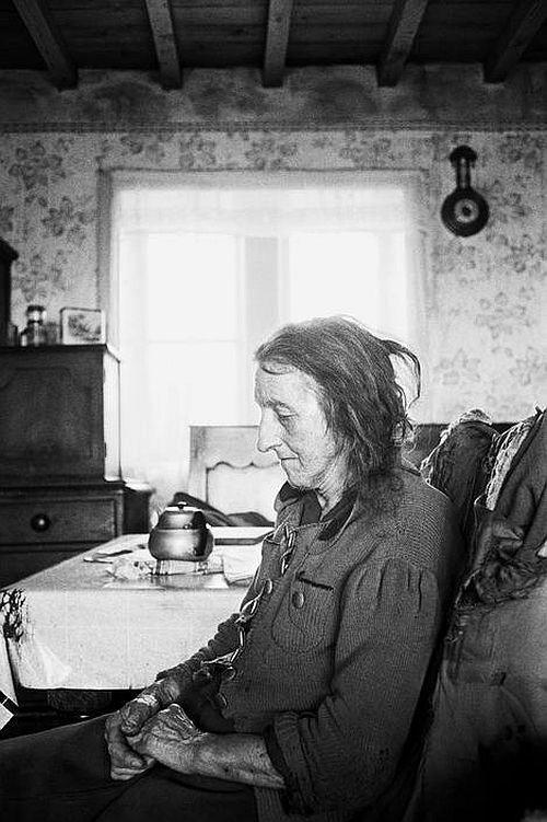 Sarah Hannah Greenwood at Thurrish Farm, 1976 by Martin Parr