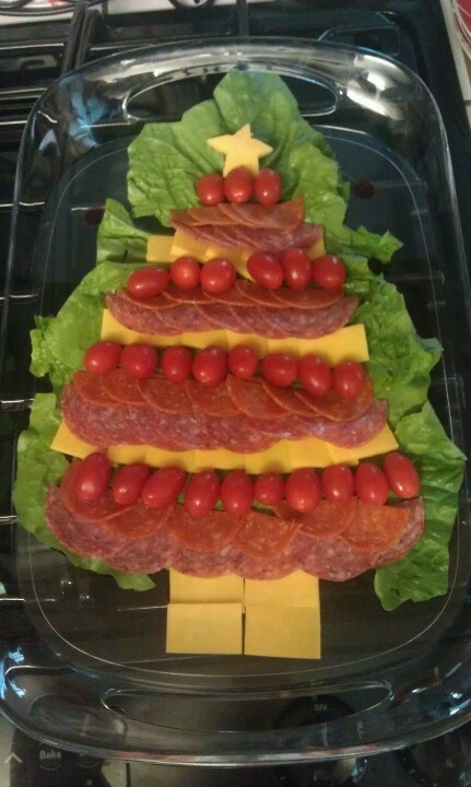 Christmas Tree meat and cheese tray 2012