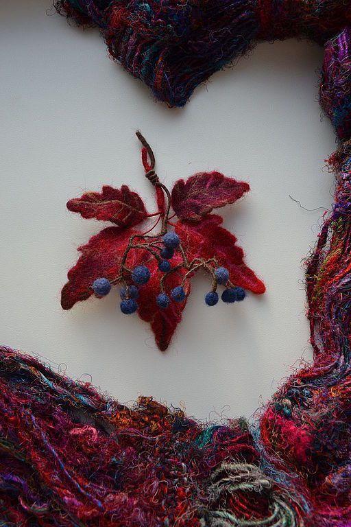 Купить Осень - бордовый, шерсть, войлок, валяние на каркасе, Валяние, украшения ручной работы, брошь