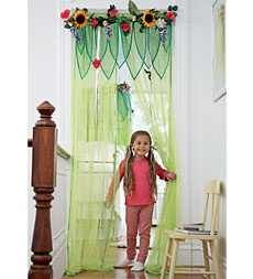 fairy garden make-an-entrance great idea is on a tension rod for easy no mess installation!