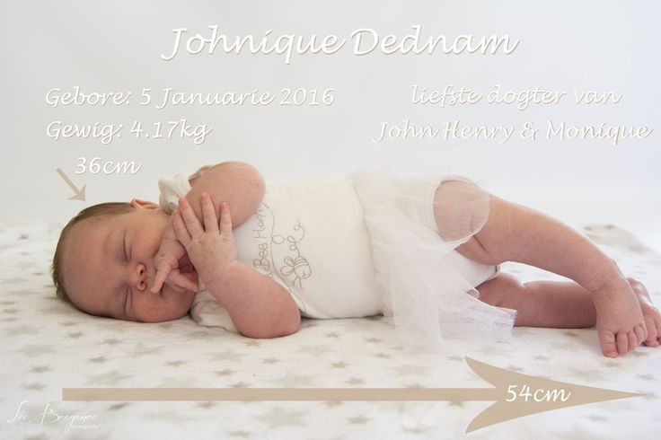 newborn girl sleeping on her side with information of her date of birth as well as weight and height by Lee braganca photography