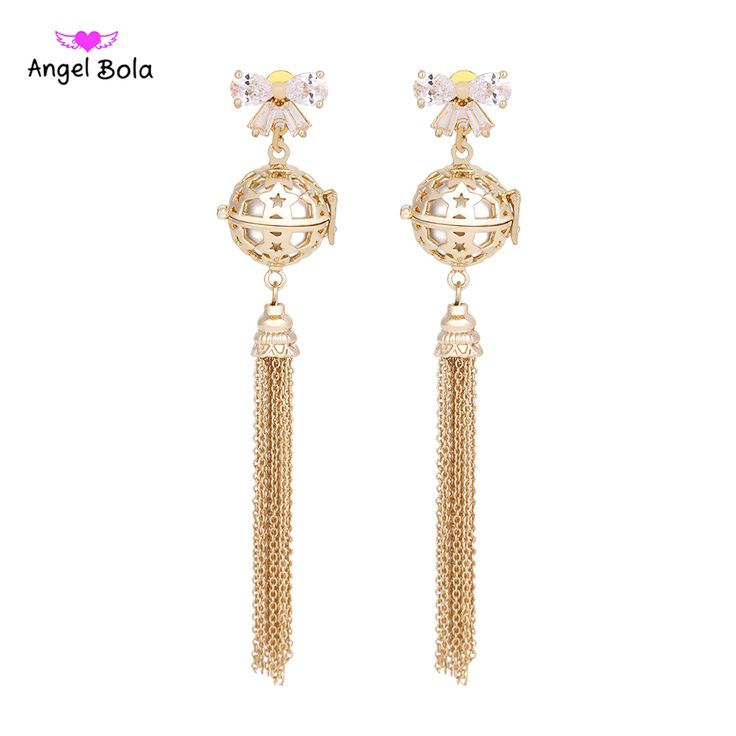 Wholesale 10Pcs Angel Bola New Cubic Zirconia Dangel Earring For Women anting-anting aromaterapi Perfume Diffuser Jewelry EL-012