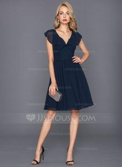 fabd7c10317 A-Line Princess V-neck Knee-Length Chiffon Homecoming Dress With Cascading  Ruffles (022134617) - JJsHouse