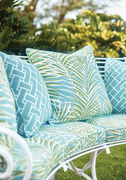West Palm Indoor-Outdoor Fabric A densely woven natural palm leaf pattern, big in scale and bright in colour. It makes a bold statement with its woven ground using a special boucle yarn adding texture and variance. The pattern is non-directional which makes it versatile to use anywhere. Shown here in kiwi green on blue.