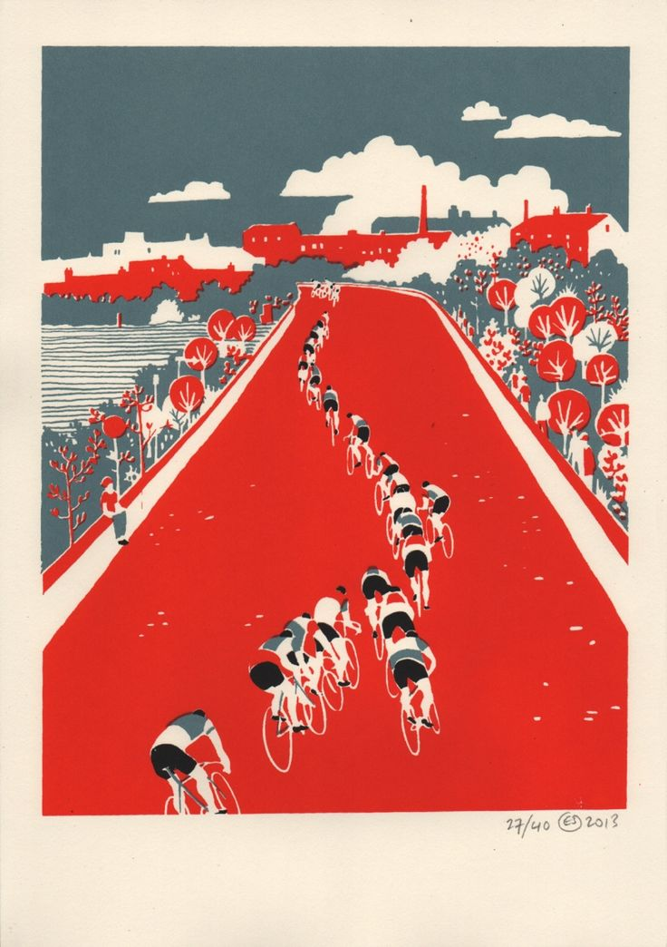 Eliza Southwood 'Tactics' Cycling Art Print Red Blue, £50
