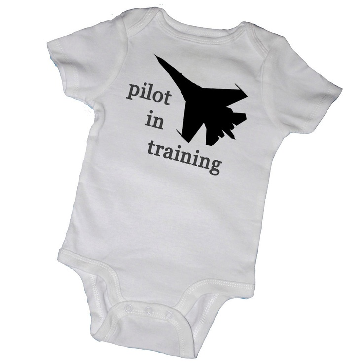 For my cousin's baby....PILOT IN TRAINING Bodysuits,Tees, Navy, Air Force, Military Plane, Infant, Newborn, Baby Shower, Party Favor. $14.00, via Etsy.
