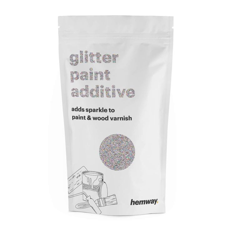 Hemway | Glitter Paint Additive Silver Holographic Crystals 100g / 3.5oz for Acrylic Latex Emulsion Paint - Interior / Exterior Wall, Ceiling, Wood, Furniture, Varnish, Dead flat, Matt, Gloss, Satin, Silk