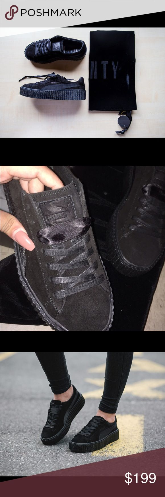 Rihanna Fenty Puma Creepers Black Satin 6.5 NEW Authentic!! Please see pics for receipt proof  I accept all reasonable offers**  I'm selling because the Puma store didn't have a size 6 so I had to go up half a size. I went the day they were released in the US. They sold out so fast!  I'm also selling the creeper in black & white size US 8.5 also with receipt proof. Bought online in wrong size. I bought a UK 6 instead of a US 6 Puma Shoes Sneakers
