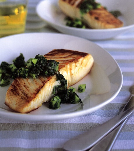 Roast Halibut With Spinach Salsa | Recipe | Halibut, Salsa and Roasts