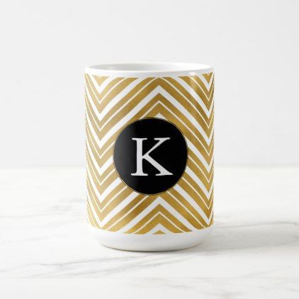 Gold Chevron Monogram Coffee Mug - chic design idea diy elegant beautiful stylish modern exclusive trendy