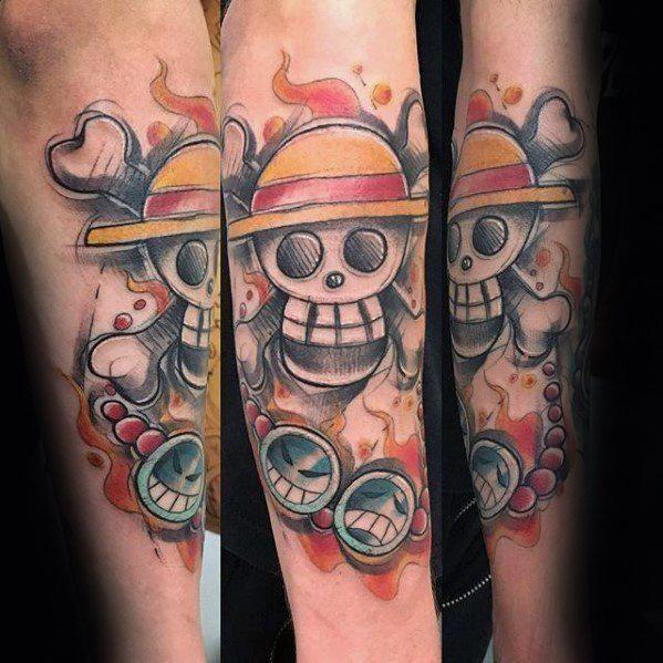 Creative One Piece Tattoos For Men On Inner Forearm Besttattoosformen One Piece Tattoos Sleeve Tattoos Tattoo Designs Men